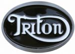 Triton Black/White Motorcycle Belt Buckle with display stand. Code SF1